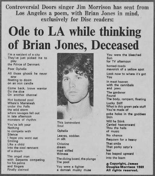 Ode To L.A. While Thinking of Brian Jones, Deceased